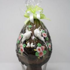 Chocolate Easter egg with sugar decoration